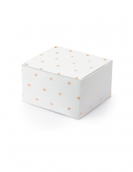10 Boîtes en carton blanches cœurs rose gold 6 x 3,5 x 5,5 cm