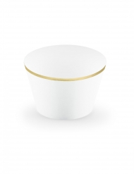 6 Moules à cupcakes en papier blancs et dorés 4,8 x 7,6 x 4,6 cm
