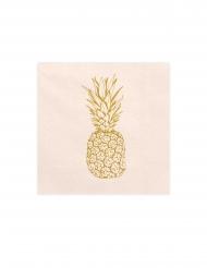 20 Seviettes en papier ananas pêches et dorées 33 x 33 cm