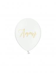 6 Ballons en latex blancs amour doré 30 cm
