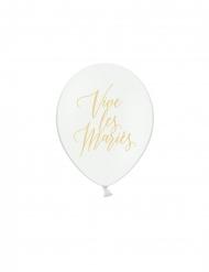 6 Ballons en latex blancs vive les mariés doré 30 cm