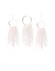 3 Attrapes rêves rubans roses et blancs 18 x 61 cm et 14 x 57 cm
