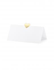 10 Marques places en carton blancs et cœurs dorés 10 x 5 cm