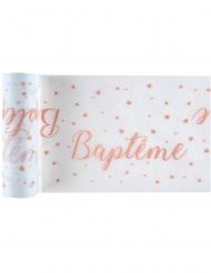 Chemin de table en tissu Baptême blanc et corail 15 cm x 5 m