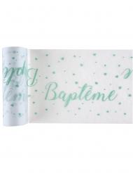 Chemin de table en tissu Baptême blanc et menthe 5 m