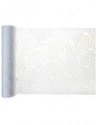 Chemin de table en tissu effet rose blanc 5 m