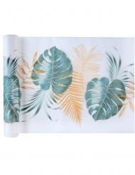 Chemin de table en tissu feuilles tropicales vert et doré 30 cm x 5 m