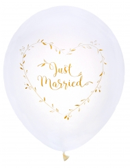 8 Ballons en latex Just Married blancs et dorés 23 cm