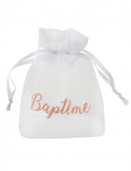 6 Sachets en tissu organdi Baptême blanc et corail 7,5 x 10 cm