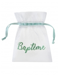 6 Sachets en tissu organdi Baptême blanc et menthe 7,5 x 10 cm