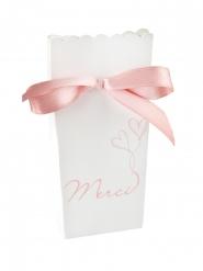 6 Boîtes en carton et satin Guinguette blanc et rose 7 x 4 x 13 cm