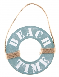 Suspension en bois Beach time bleu 10 x 15 cm