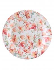 10 Assiettes en carton Happy Day blanches et roses 23 cm