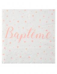 20 Serviettes en papier Baptême blanches et corails 33 x 33 cm