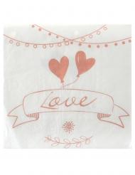 20 Serviettes en papier Guinguette blanches et roses 33 x 33 cm