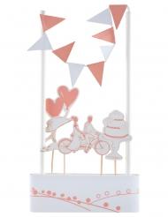 Cake topper en carton Guinguette blanc et rose 3 x 7 cm
