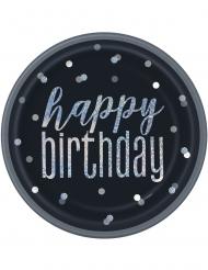 8 Assiettes en carton happy birthday noires et grises 23 cm