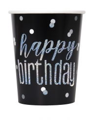 8 Gobelets en carton happy birthday noires et gris 266 ml