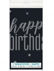 Nappe en plastique happy birthday noire et grise 137 x 213 cm