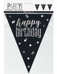 Guirlande en plastique happy birthday noire et grise 2,7 m