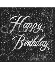16 Serviettes en papier happy birthday noires et argents 33 x 33 cm