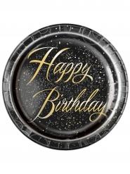 8 Assiettes en carton happy birthday noires et or 23 cm
