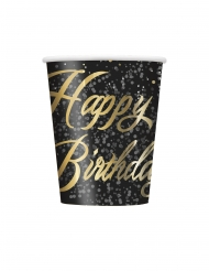 8 Gobelets en carton happy birthday noirs et or 266 ml
