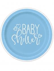 8 Assiettes en carton baby shower bleues et blanches 23 cm