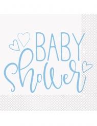 16 Serviettes en papier baby shower bleues et blanches 33 x 33 cm