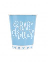 8 Gobelets en carton baby shower bleus et blancs 266 ml