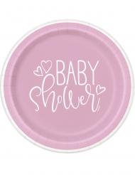 8 Petites assiettes en carton baby shower roses et blanches 18 cm