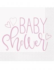 16 Serviettes en papier baby shower roses et blanches 33 x 33 cm