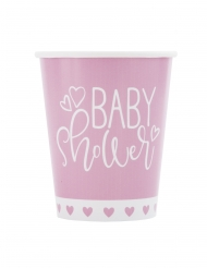 8 Gobelets en carton baby shower roses et blancs 266 ml