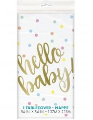 Nappe en plastique hello baby blanche et or 137 x 213 cm