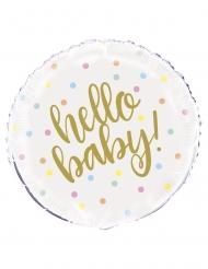 Ballon aluminium hello baby blanc et or 45 cm