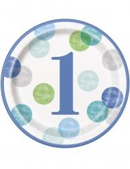 8 Assiettes en carton 1er anniversaire bleues et blanches 23 cm
