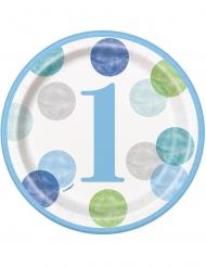 8 Petites assiettes en carton 1er anniversaire bleues et blanches 18 cm