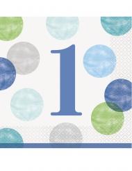16 Serviettes en papier 1er anniversaire bleues et blanches 33 x 33 cm