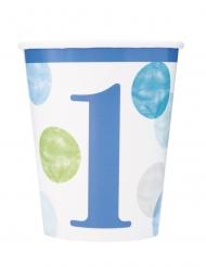 8 Gobelets en carton 1er anniversaire bleus et blancs 266 ml