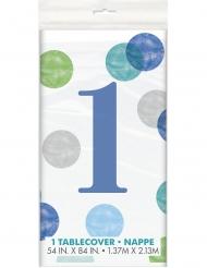 Nappe en plastique 1er anniversaire blanche et bleue 137 x 213 cm