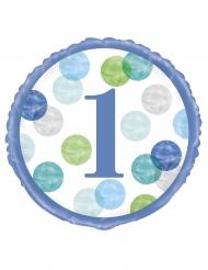 Ballon aluminium 1er anniversaire blanc et bleu 45 cm
