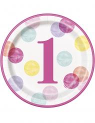 8 Assiettes en carton 1er anniversaire roses et blanches 23 cm
