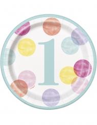 8 Petites assiettes en carton 1er anniversaire roses et blanches 18 cm