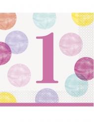 16 Serviettes en papier 1er anniversaire roses et blanches 33 x 33 cm