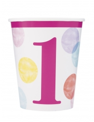 8 Gobelets en carton 1er anniversaire roses et blancs 266 ml