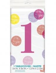 Nappe en plastique 1er anniversaire blanche et rose 137 x 213 cm