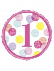 Ballon aluminium 1er anniversaire blanc et rose 45 cm
