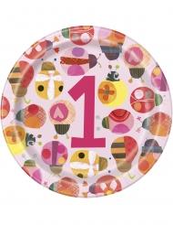 8 Assiettes en carton petite coccinelle rose 23 cm
