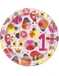 8 Petites assiettes en carton petite coccinelle roses 18 cm