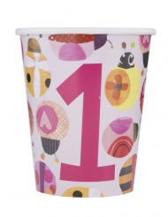 8 Gobelets en carton petite coccinelle rose 266 ml